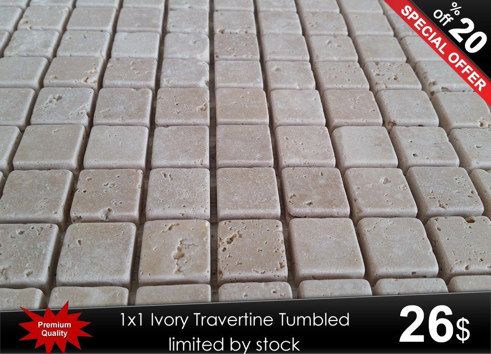 Satın al 2,3cmx2,3cm Ivory Travertine Tumbled