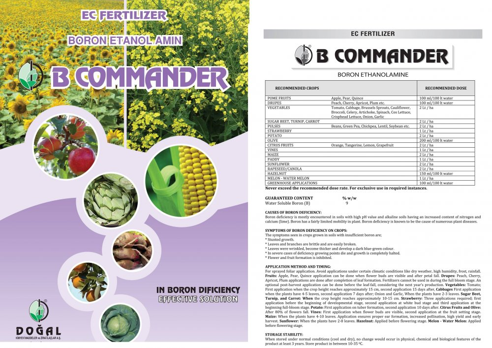 Satın al B commander (boron ethanolamine-ec fertilizer) 1 lt bottle