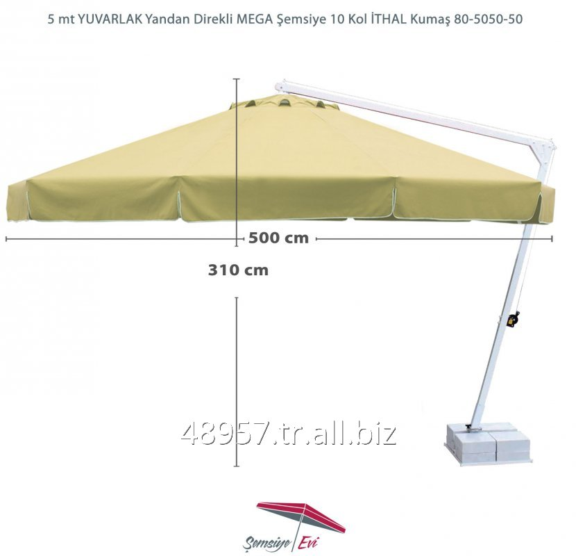 Satın al 5 mt YUVARLAK Yandan Direkli MEGA Şemsiye 10 Kol İTHAL Kumaş 80-5050-50