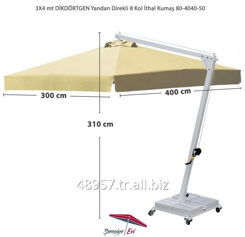 Satın al 3X4 mt DİKDÖRTGEN Yandan Direkli Şemsiye 8 Kol İTHAL Kumaş 80-4040-50