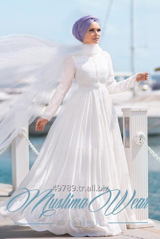 Satın al Pure Cotton Embroidery İslamic Clothing Dress Lila Muslima Wear