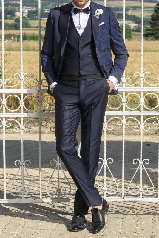 Ceket Desenli Yelek Pantolon Düz Damatlık Takım Elbise