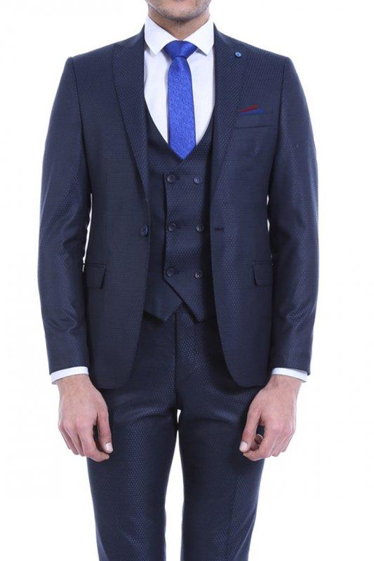 Desenli Yelekli Lacivert Takım Elbise