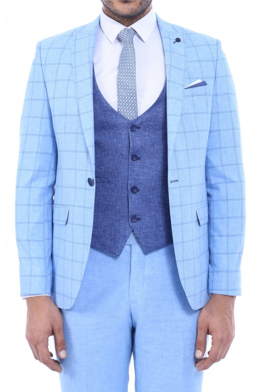 Ekose Ceket Kombinli Yelekli A.Mavi Takım Elbise