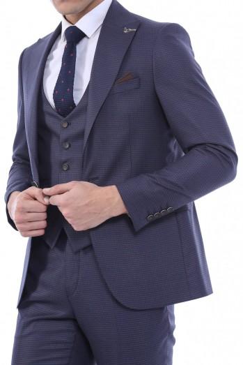 #Sivri Yaka Yelekli Lacivert Takım Elbise