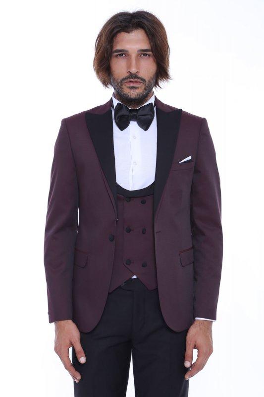 #Kombinli Yelekli Bordo Bordo Damatlık Takım Elbise