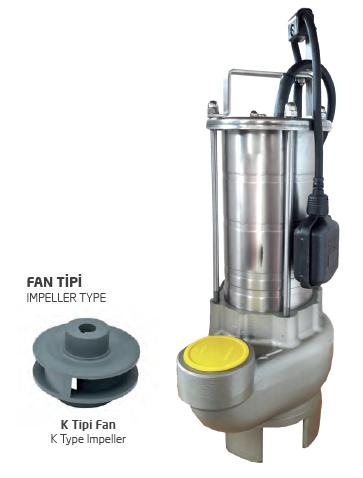 Satın al Paslanmaz Çelik Gövdeli Atık Su Dalgıç Elektropomplar ASM/AST - K Tipi Fan