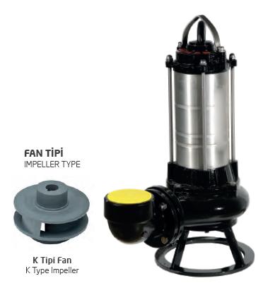 Satın al Paslanmaz Çelik Gövdeli Trifaze Atık Su Dalgıç Elektropomplar AS/AST - K Tipi Fan