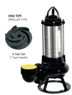Satın al Paslanmaz Çelik Gövdeli Trifaze Atık Su Dalgıç Elektropomplar AST - V Tipi Fan