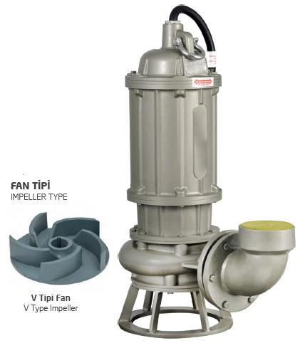 Satın al Pik Gövdeli Trifaze Atık Su Dalgıç Elektropomplar AST - V Tipi Fan