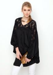 Satin  with lace blouse