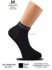 Square Stone-Knitted Black Bootees for Women