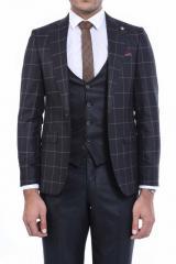 Ceket Ekose Pantolon Yelek Düz Yelekli Takım Elbise