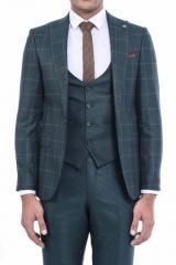 Ekose Ceket Pantolon Yelek Düz Yelekli Takım Elbise