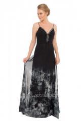 54906-27 Siyah Tüllü Desenli Uzun Abiye Elbise