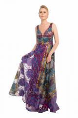 54892 Mor Dekolteli Desenli Uzun Abiye Elbise