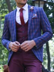 Ekose Yelekli Bordo-Lacivert Takım Elbise