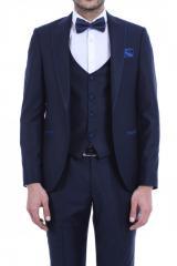 Yaka İnce Biyeli Lacivert Damatlık Takım Elbise