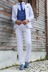 Ekose Ceket Kombinli Yelekli Beyaz Takım Elbise