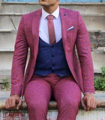 Ekose Ceket Kombinli Yelekli Pembe Takım Elbise