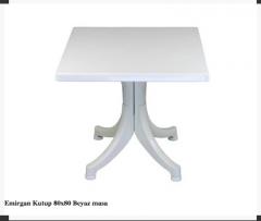 Emirgan Kutup 80x80 Beyaz masa