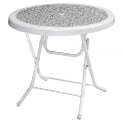 ROSE Ø75 PLASTIC FOLDING TABLE WITH METAL LEGS & DECORATED