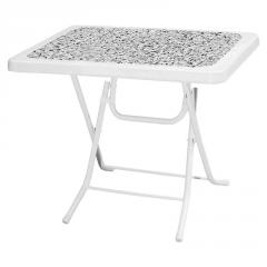 PICNIC 60x85cm PLASTIC FOLDING TABLE WITH METAL LEGS & DECORATED