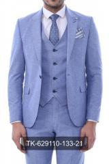 #Tek Düğme Sivri Yaka Yelekli Desenli Bebek Mavisi Takım Elbise