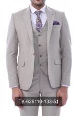 #Tek Düğme Sivri Yaka Yelekli Desenli Bej Takım Elbise