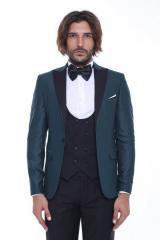 #Ceket Desenli Pantolon Yelek Düz Yeşil Damatlık Takım Elbise
