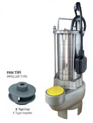 Paslanmaz Çelik Gövdeli Atık Su Dalgıç Elektropomplar ASM/AST - K Tipi Fan