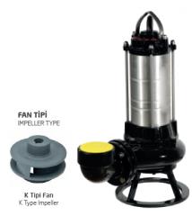 Paslanmaz Çelik Gövdeli Trifaze Atık Su Dalgıç Elektropomplar AS/AST - K Tipi Fan