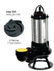 Paslanmaz Çelik Gövdeli Trifaze Atık Su Dalgıç Elektropomplar AST - V Tipi Fan