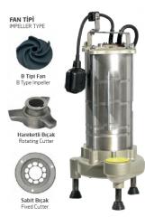 Paslanmaz Çelik Gövdeli Parçalayıcı Atık Su Dalgıç Elektropomplar ASM/AST - B Tipi Fan