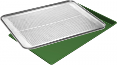 Flat and perforated tray for bakery production