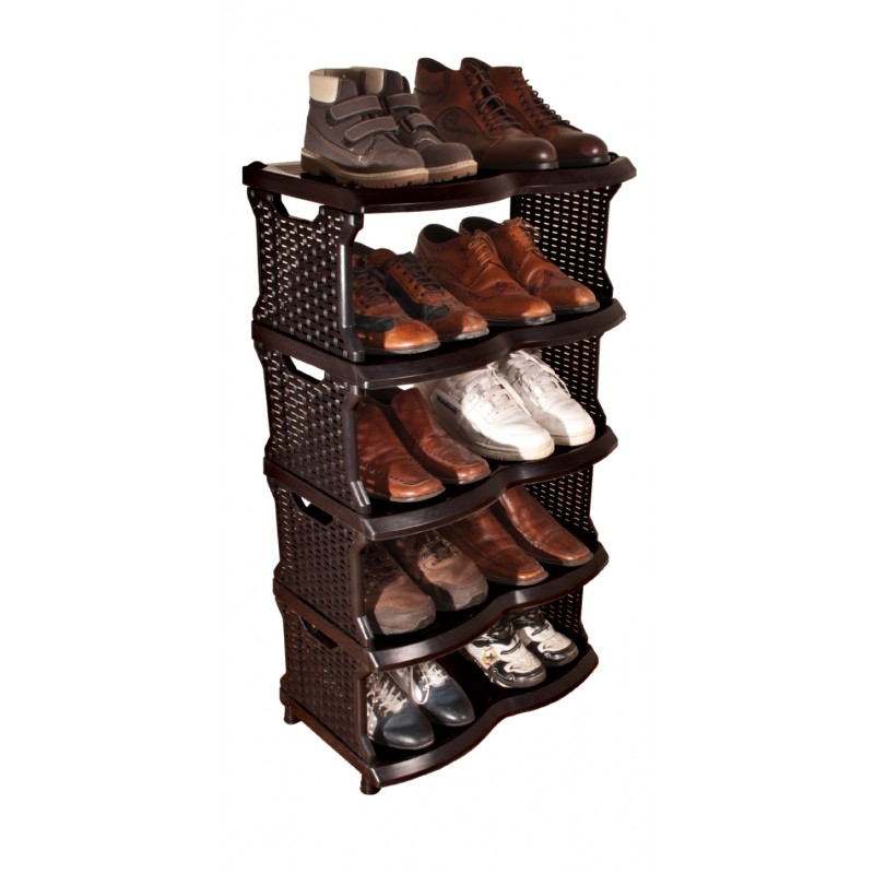 Sipariş Black Rattan Shoes Shelves(Model 06-146)