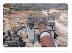 Çimento fabrikasındaki boru hattı